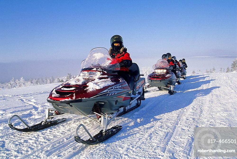 snowmobile trip around Muonio, Lapland, Finland, Northern Europe.