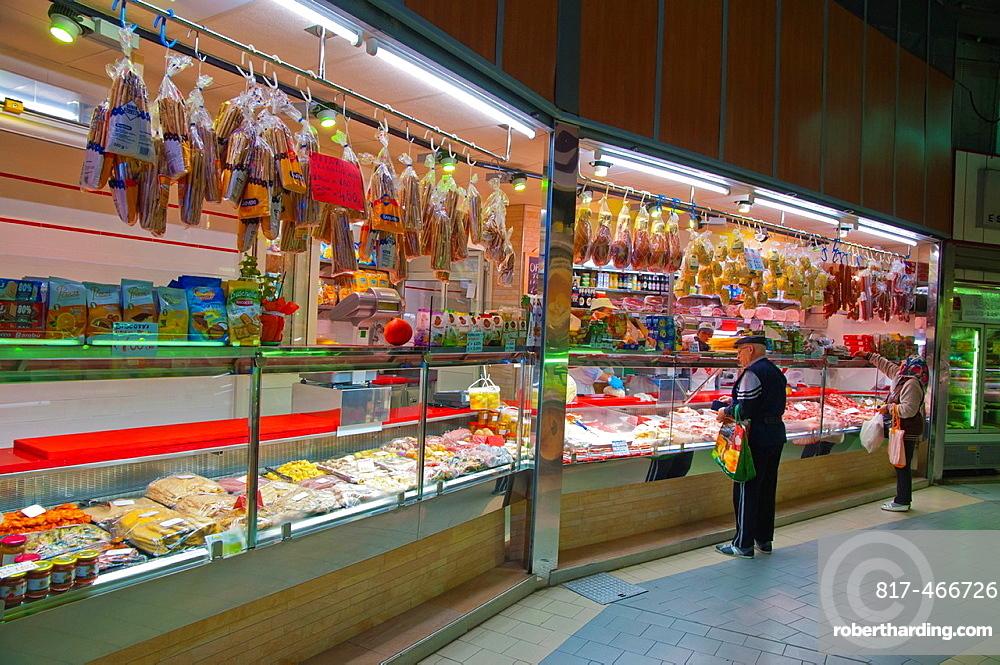 Market hall interior at Piazza della Repubblica market square Turin Piedmont region Italy Europe.