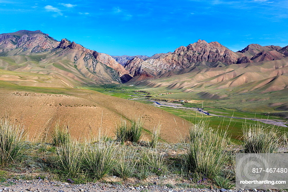 Road to Song Kol lake, Naryn oblast, Kyrgyzstan.