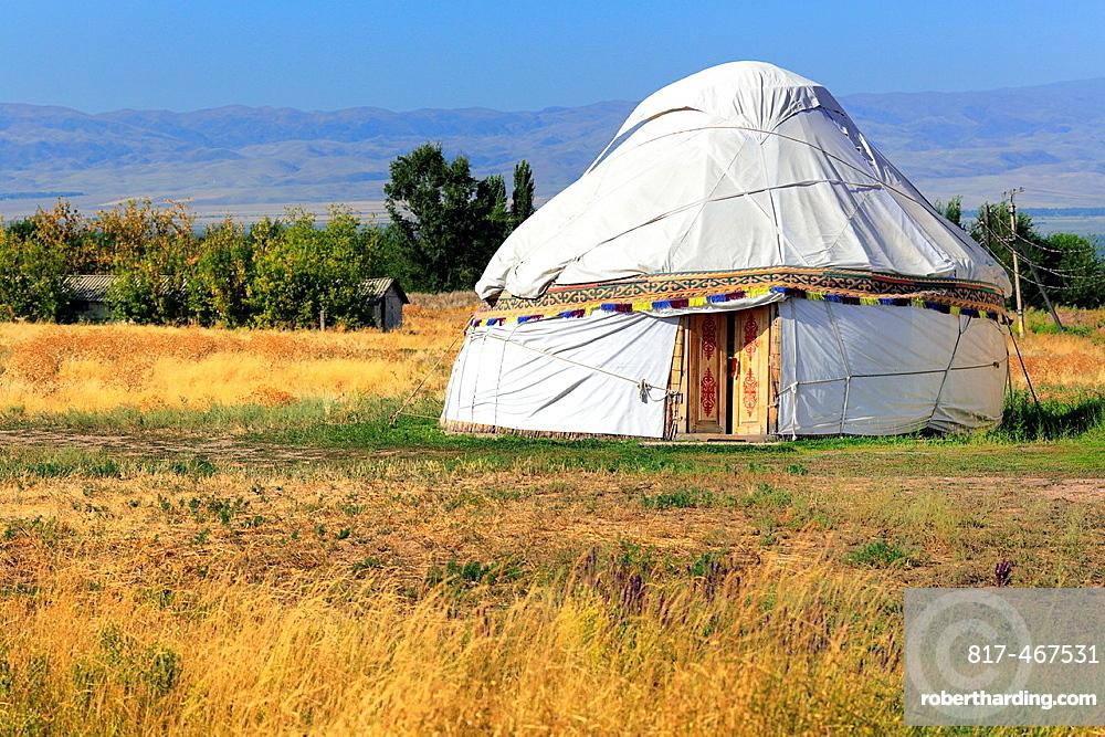 Nomads tent (yurt), near Burana tower, Chuy oblast, Kyrgyzstan.