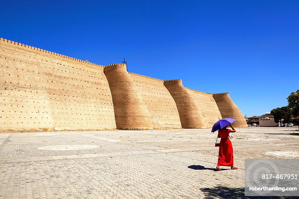 Outer walls of the Ark Fortress, Registan Square, Bukhara, Uzbekistan.