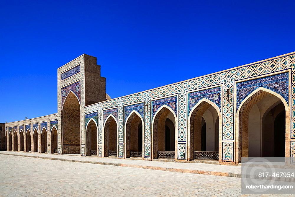 Islamic architecture in courtyard, Kalon Mosque, also known as Kalyan Mosque, Poi Kalon, Bukhara, Uzbekistan.