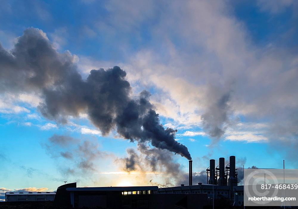 Power plant smoke in Reyjanesta geothermal area, Southern Iceland.