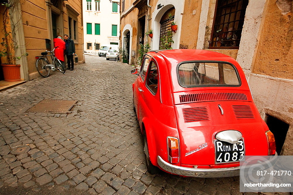 Old red Fiat 500 car, Piazza Navona, Rome, Italy, Europe.