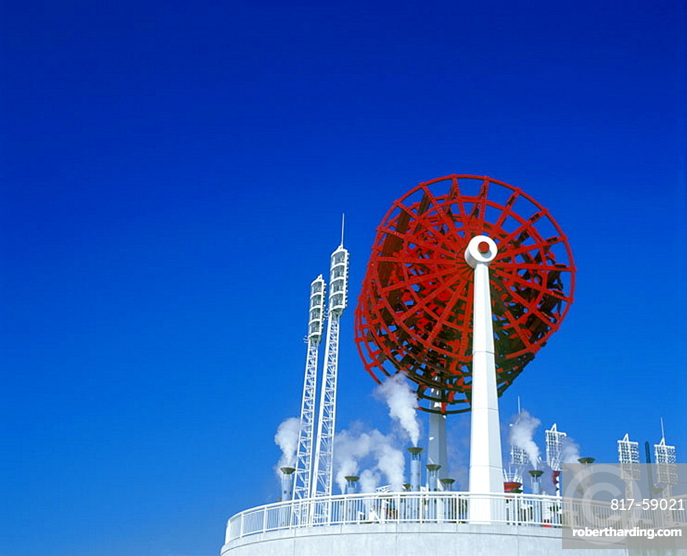 Red steamboat wheel, Riverfront stadium, Cincinnati, Ohio, USA.
