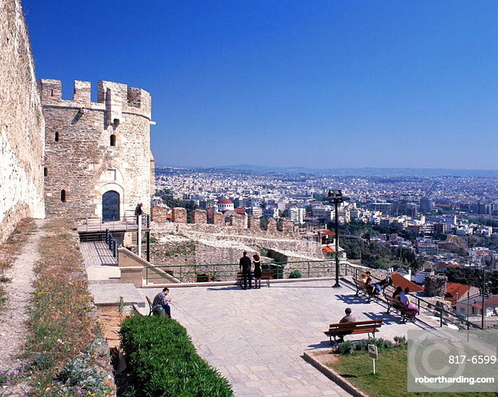 Trigonion Tower and city view, Ano Poli (upper city), Thessaloniki, Greece