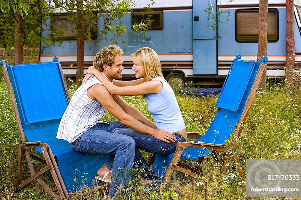 Young couple outdoors casual