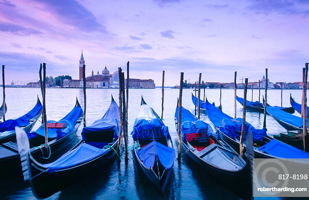 Gondolas and San Giorgio Maggiore in background, Venice, Italy