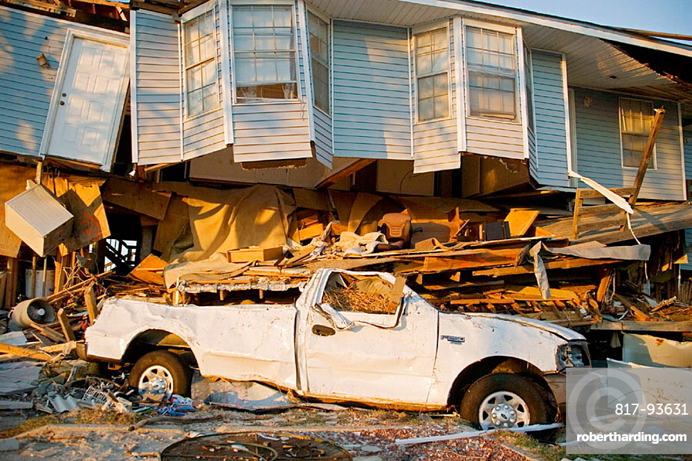 Damage caused by Hurricane Katrina, Slidell, Louisiana, USA.