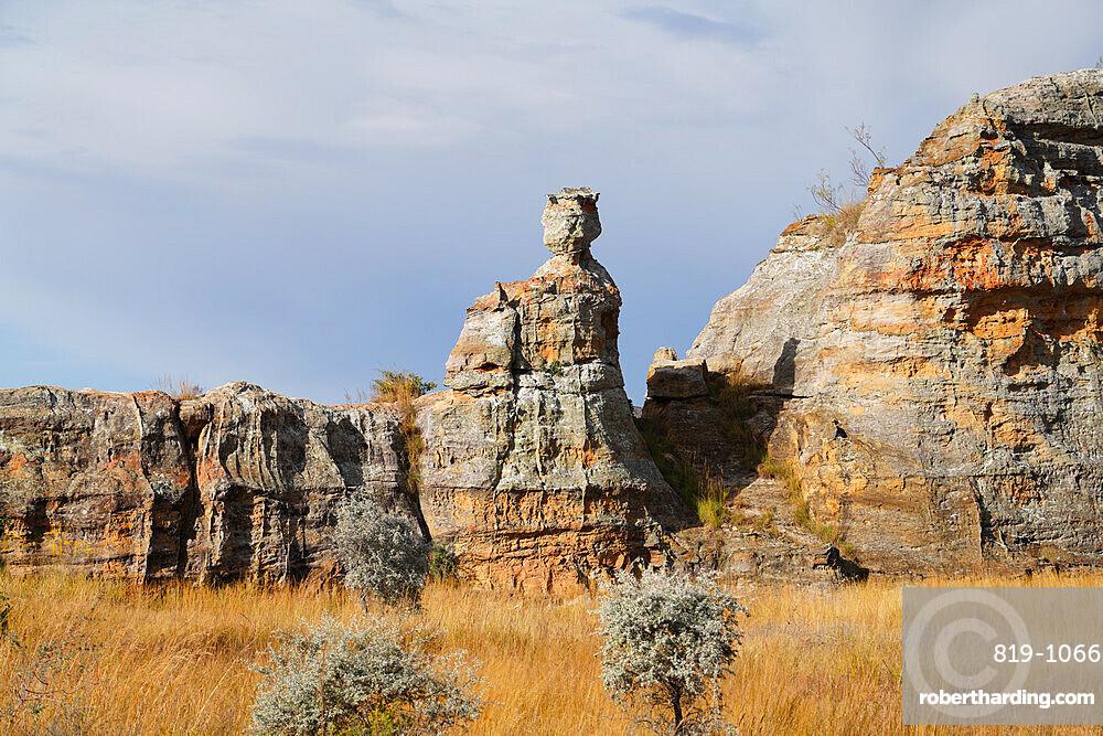 Eroded sandstone Queen rock formation, Isalo National Park, Fianarantsoa province, Ihorombe Region, Southern Madagascar