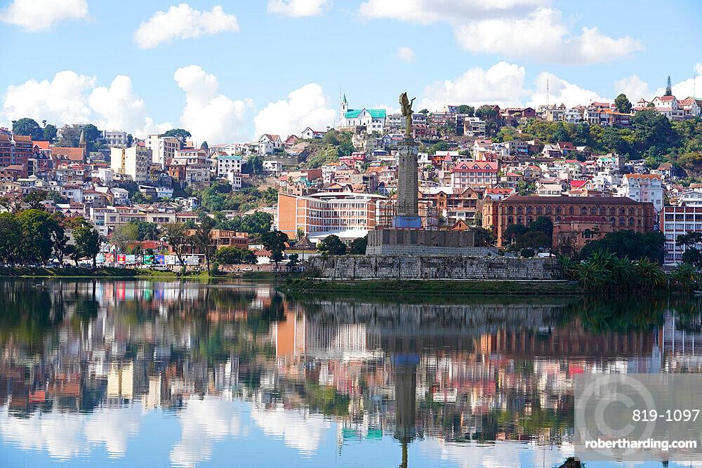 The town of Antananarivo, Lac Anosy and the Monument de l???Ange Noir, Antananarivo, Madagascar