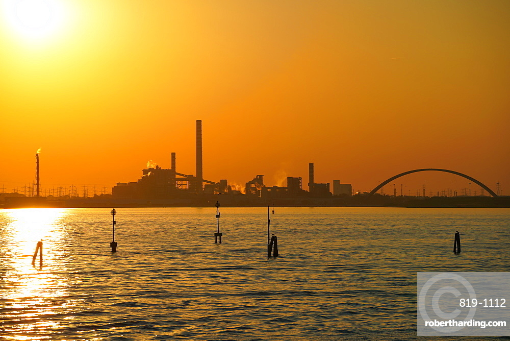 Industrial chemical area of Marghera seen from the ferry, Venice lagoon, Venice, Veneto, Italy, Europe