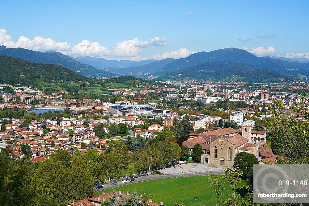 Bergamo lower town seen from Bergamo Alta, Lombardy, Italy, Europe