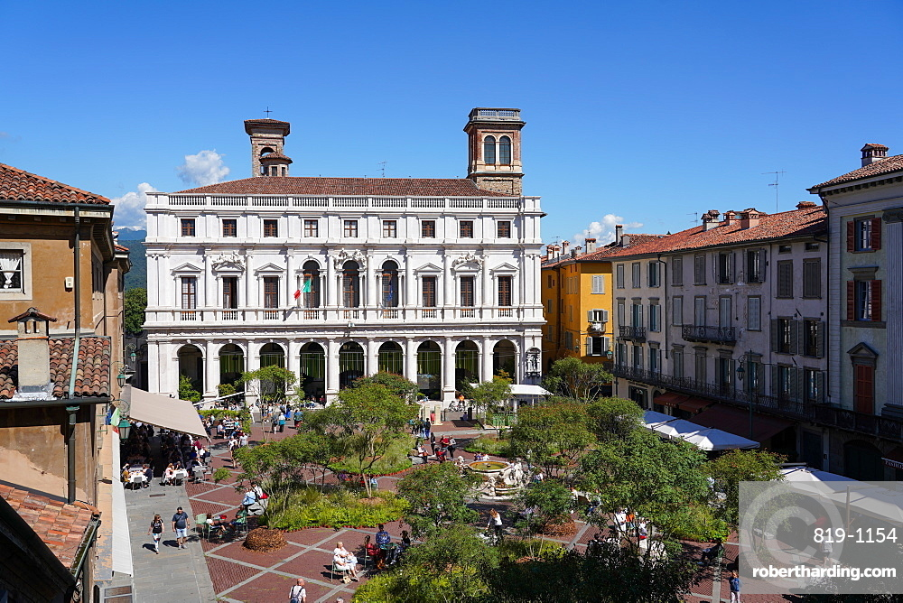 The Old Square and the New Palace of Bergamo, current seat of Angelo Mai Civic Library, Bergamo, Lombardia, Italy, Europe