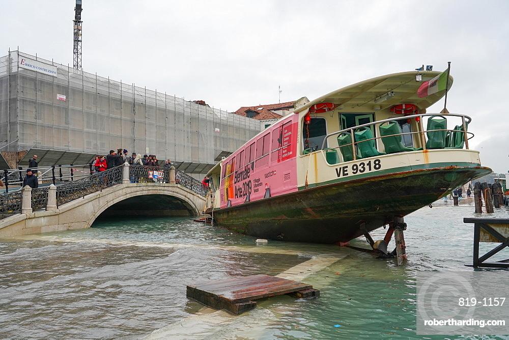 Stranded public boat during the high tide in Venice, November 2019, Venice, UNESCO World Heritage Site, Veneto, Italy, Europe