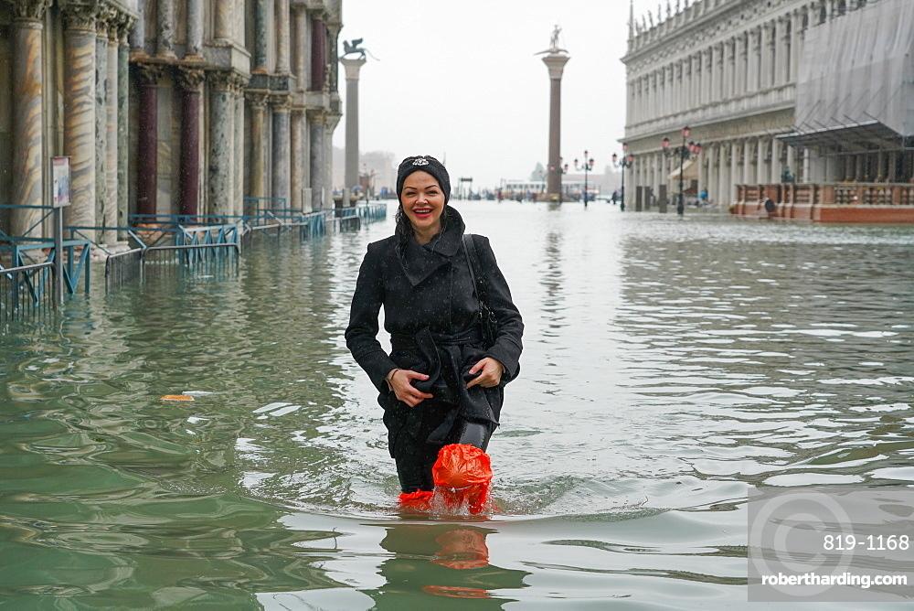 St. Mark's Square during the high tide in Venice, November 2019, Venice, UNESCO World Heritage Site, Veneto, Italy, Europe