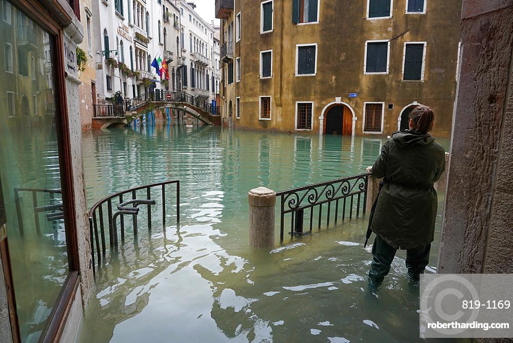 High tide in Venice, November 2019, Venice, UNESCO World Heritage Site, Veneto, Italy, Europe