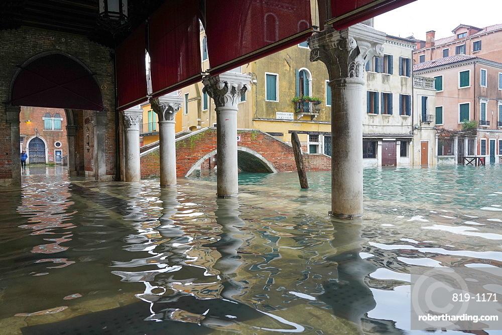 Rialto fish market during the high tide in Venice, November 2019, Venice, UNESCO World Heritage Site, Veneto, Italy, Europe