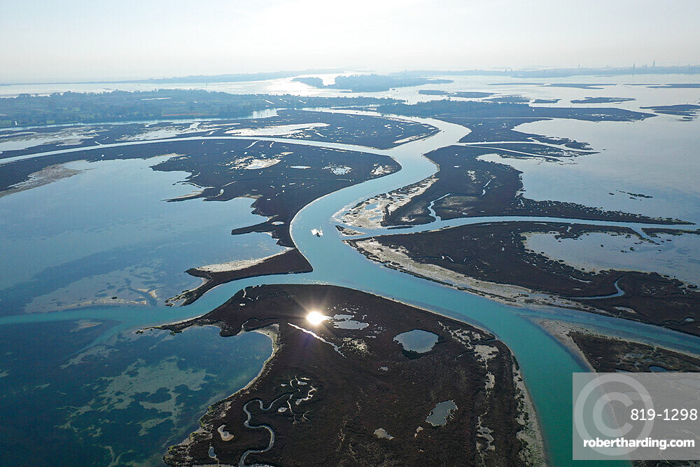Aerial view of Venice Lagoon, canals and meanders, Venice, Veneto, Italy, Europe