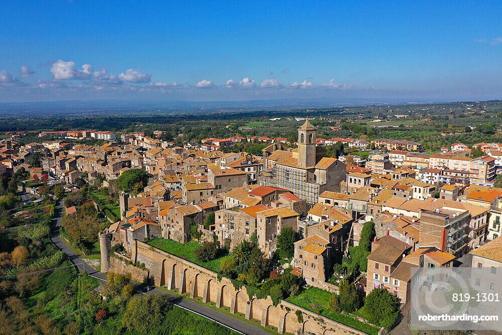 Aerial view of Etruscan village of Vetralla, Viterbo province, Lazio, Italy, Europe (drone)