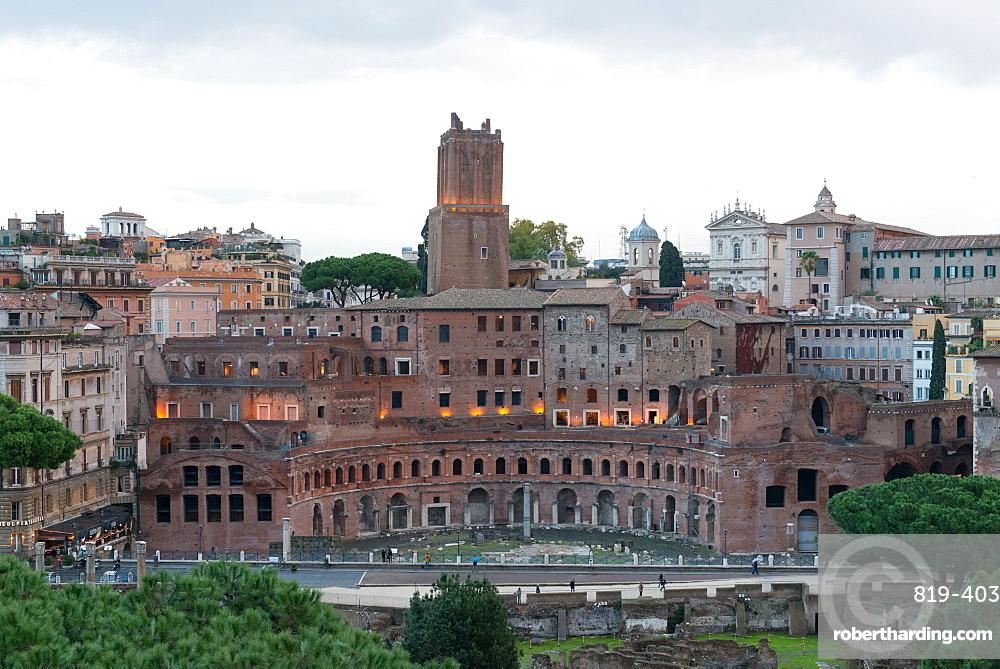 Via dei Fori Imperiali and Trajan's Forum ruins seen from Vittoriano monument, Rome, Lazio, Italy, Europe