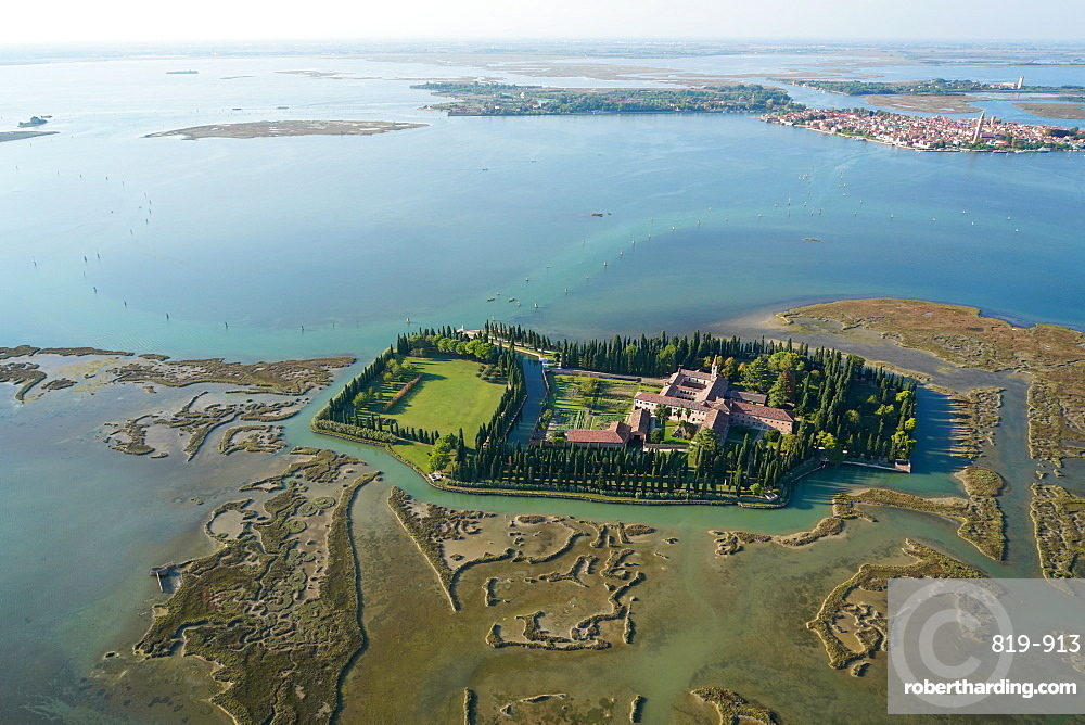 View of San Francesco del Deserto island from the helicopter, Venice Lagoon, UNESCO World Heritage Site, Veneto, Italy, Europe