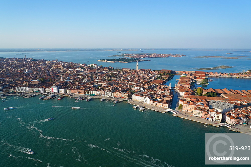 View of Venice from the helicopter, Venice Lagoon, UNESCO World Heritage Site, Veneto, Italy, Europe