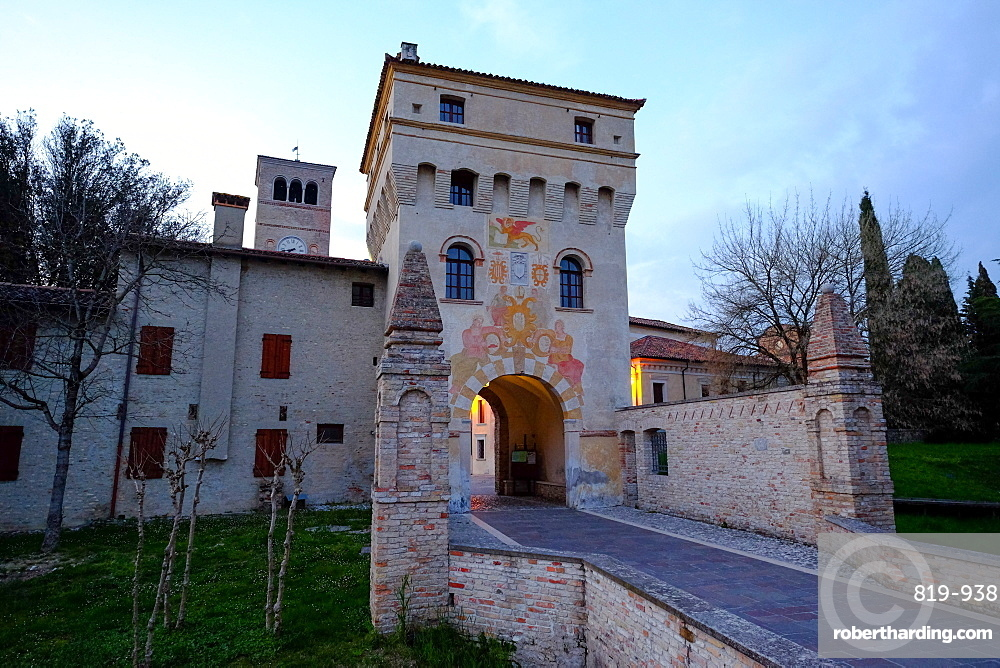 The entrance tower of Abbey of Santa Maria in Sylvis, Sesto al Reghena, Pordenone, Friuli Venezia Giulia, Italy, Europe