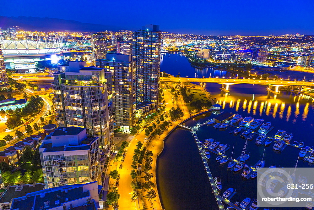 Aerial view, at twilight, showing Yaletown, downtown, False Creek, Cambie Street Bridge, Vancouver, British Columbia, Canada, North America