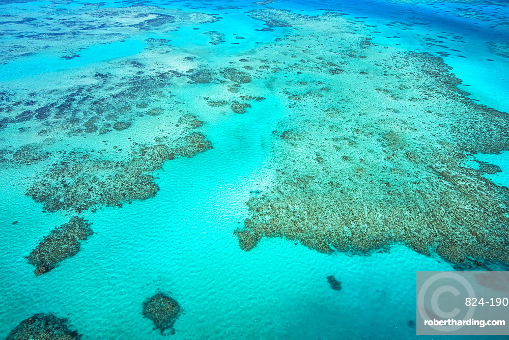 An aerial view of the Great Barrier Reef, UNESCO World Heritage Site, Queensland, Australia, Pacific
