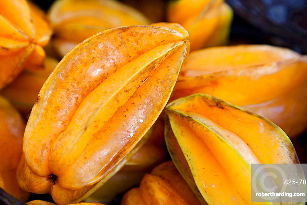 Starfruit (carambola) (Averrhoa carambola), a star shaped fruit when cut, grown in tropical conditions