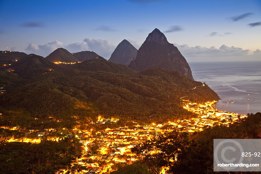 The Pitons and Soufriere at night, St. Lucia, Windward Islands, West Indies, Caribbean, Central America
