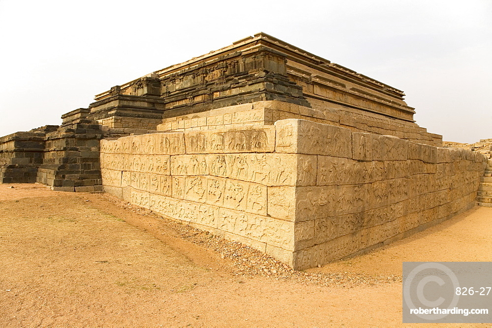 The Mahanavami Dibba, the three-tiered structure within the royal enclosure at Hampi, UNESCO World Heritage Site, Karnataka, India, Asia