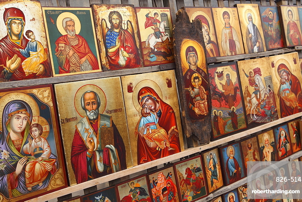 Greek Orthodox icons offered for sale outside the Alexander Nevsky Cathedral, Sofia, Bulgaria, Europe