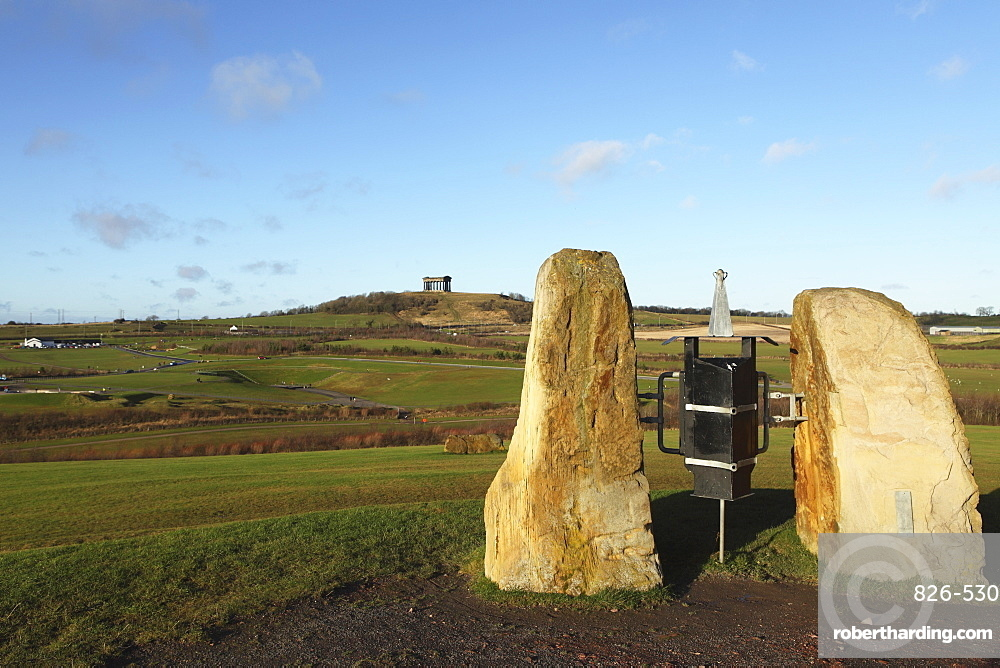 Stone sculpture in Herrington Country Park, overlooking Penshaw Monument, Sunderland, Tyne and Wear, England, United Kingdom, Europe