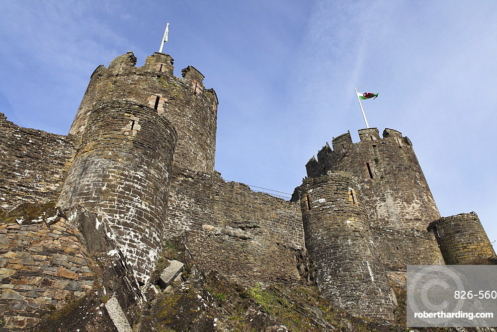 The keep of the medieval Conwy Castle, built on the orders of Prince Edward I from 1283 to 1289, UNESCO World Heritage Site, Conwy (Conway), Wales, United Kingdom, Europe