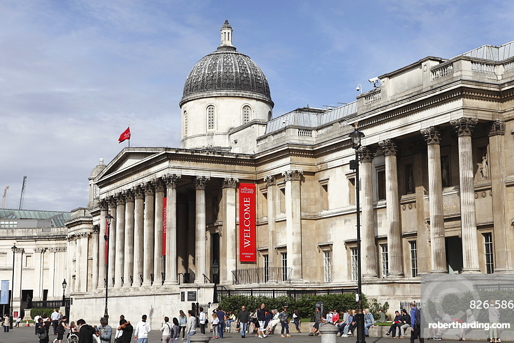 The National Gallery, the art museum on Trafalgar Square, London, England, United Kingdom, Europe