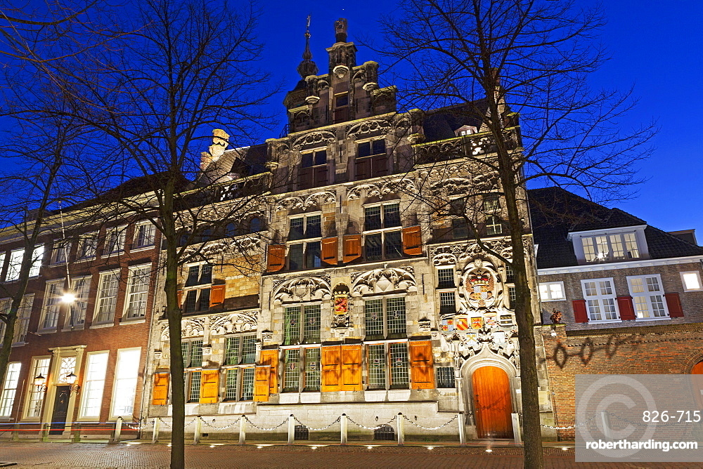The Gemeenlandshuism, a historic building on the Oude Delft canal in Delft, South Holland, The Netherlands, Europe