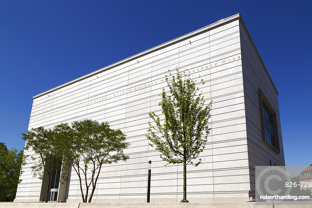 Trees by the facade of the Bauhaus Museum Weimar, designed by Heike Hanada, Weimar, Thuringia, Germany, Europe