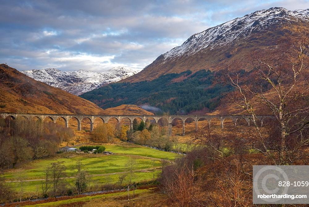 Glenfinnan Railway Viaduct, part of the West Highland Line, made famous in JK Rowling's Harry Potter, Glenfinnan, Loch Shiel, Highlands, Scotland, United Kingdom, Europe