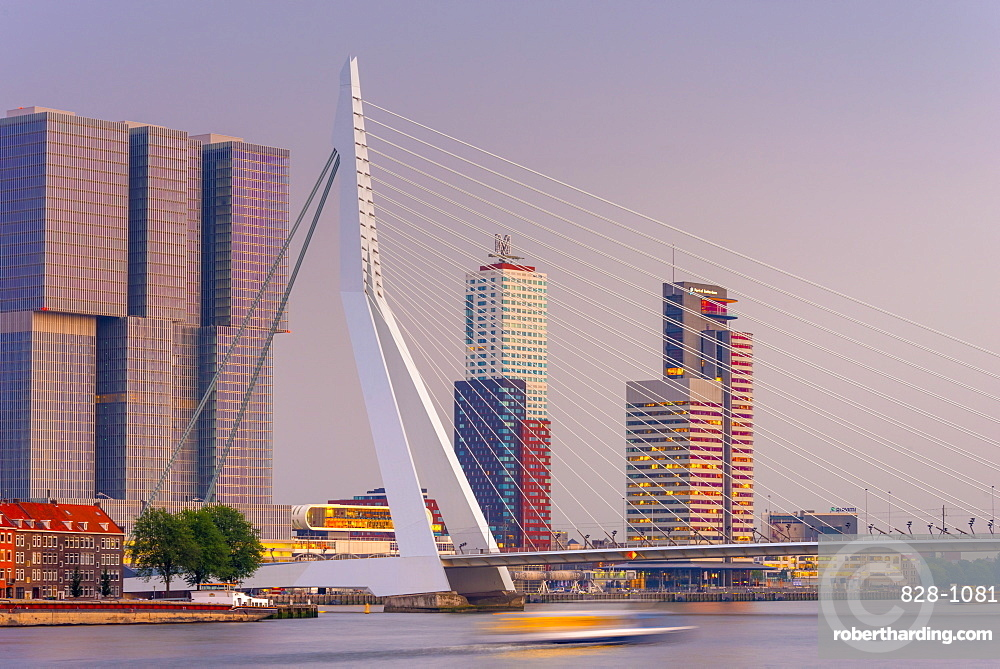 Erasmusbrug (Erasmus Bridge) and Wilhelminakade 137, De Rotterdam, The Rotterdam Building, Rotterdam, South Holland, The Netherlands, Europe