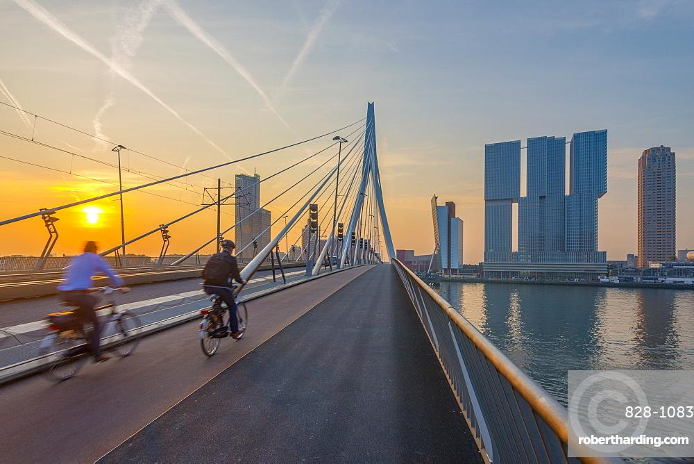 Erasmusbrug (Erasmus Bridge) and Wilhelminakade 137, De Rotterdam, The Rotterdam Building, Rotterdam, South Holland, The Netherlands, Europe