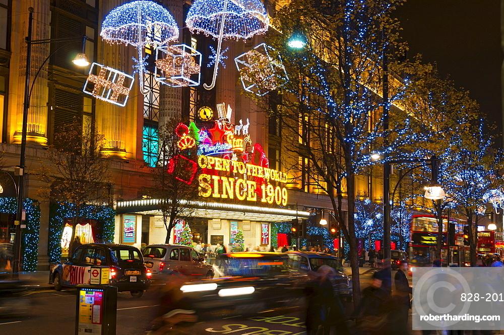 Selfridges And Christmas Lights Oxford Stock Photo