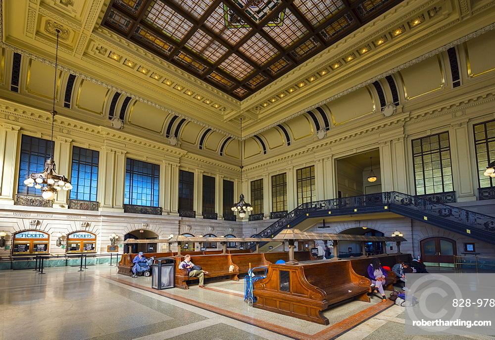 Waiting room, Hoboken Terminal Railway Station, Hoboken, New Jersey, United States of America, North America