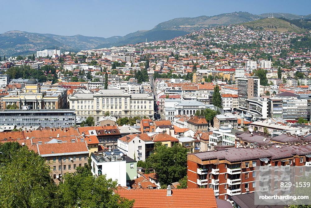 View across Sarajevo, capital of Bosnia and Herzegovina, Europe