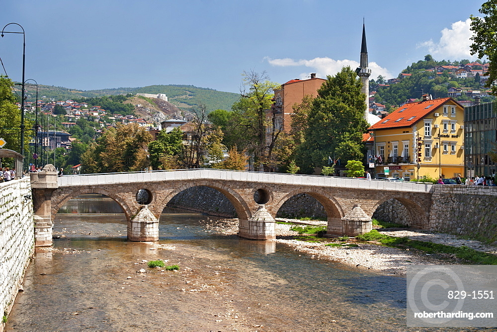 The Latin Bridge, a historic Ottoman bridge over the Miljacka River in Sarajevo, capital of Bosnia and Herzegovina, Europe