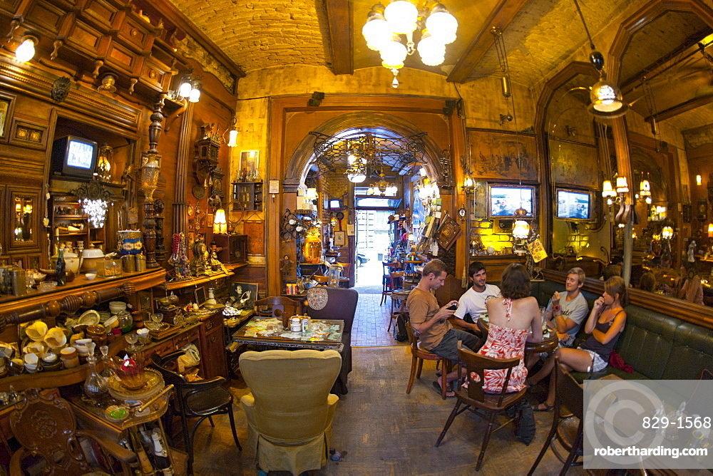 Interior of the Zlatna Ribica (Gold Fish) bar and cafe in Sarajevo, capital of Bosnia and Herzegovina, Europe