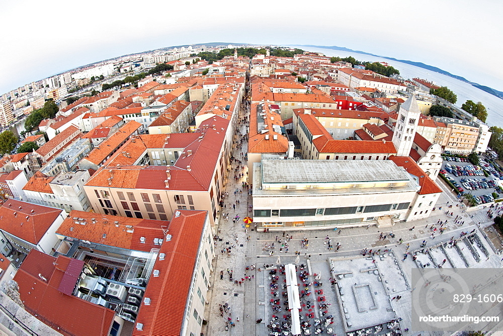 View over the rooftops of Zadar from the bell tower of the Cathedral of St. Anastasia in Zadar, Adriatic Coast, Croatia, Europe