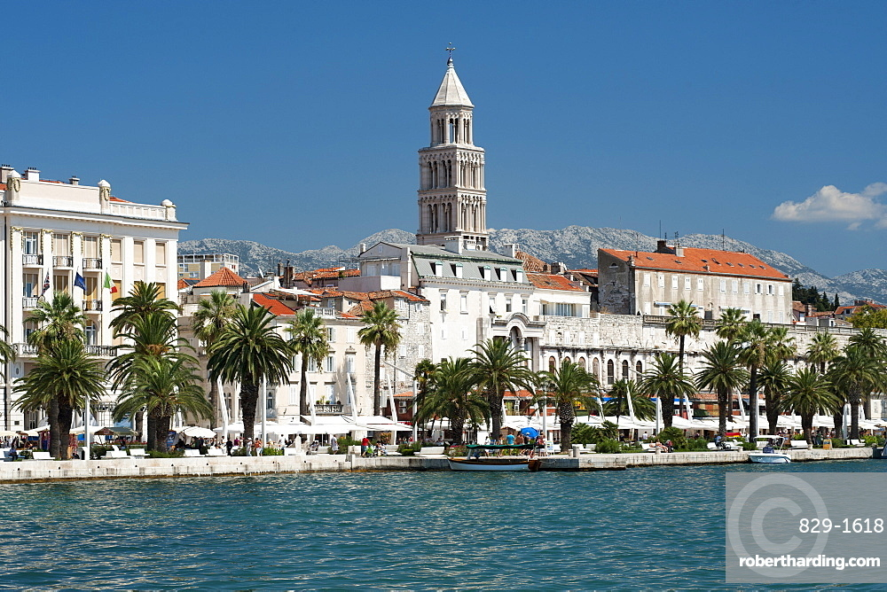 The waterfront promenade and tower of the Cathedral of St. Domnius in the city of Split, Adriatic Coast, Croatia, Europe