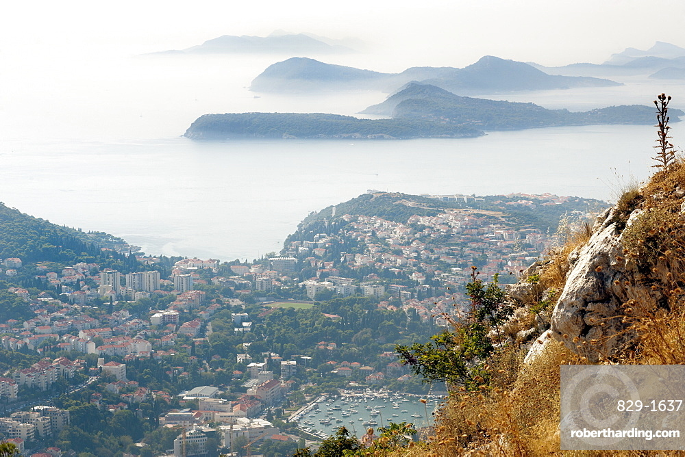 View from Mount Srd over part of the city of Dubrovnik and islands in the Adriatic Sea, Croatia, Europe
